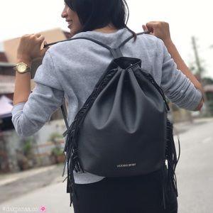 Victoria secret draw string black leather purse